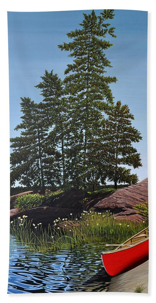 Landscapes Hand Towel featuring the painting Georgian Bay Beached Canoe by Kenneth M Kirsch