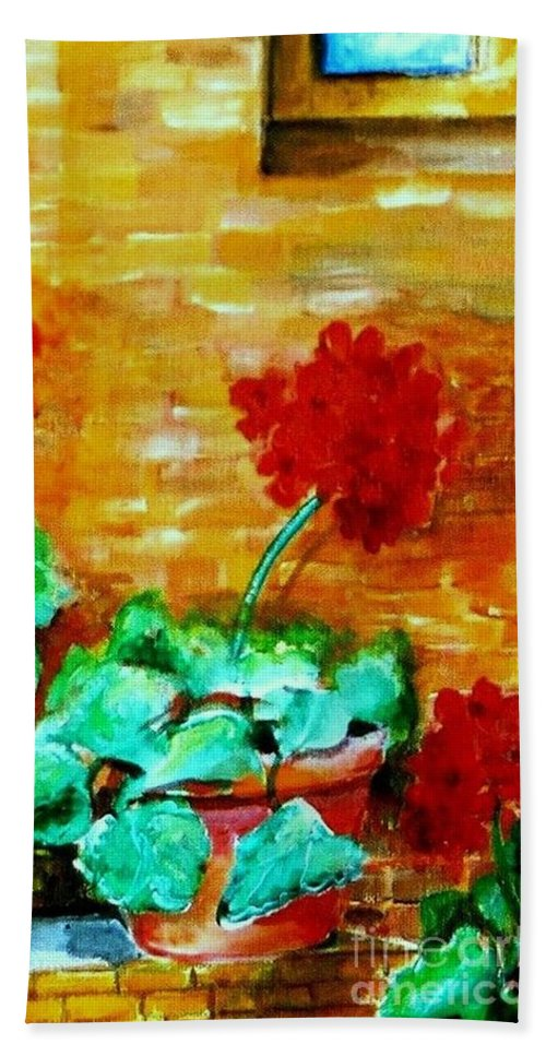 Geraniums Bath Sheet featuring the painting Geraniums  by Eric Schiabor