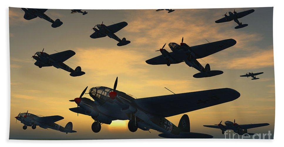 Artwork Hand Towel featuring the digital art German Heinkel Bombers Taking by Mark Stevenson