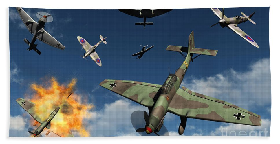 Artwork Hand Towel featuring the digital art German Ju 87 Stuka Dive Bombers by Mark Stevenson