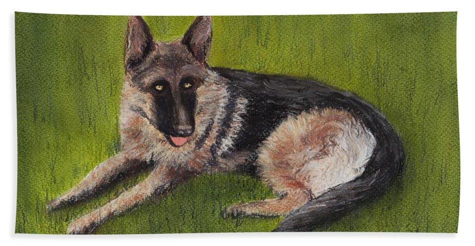 Look Bath Sheet featuring the painting German Shepherd by Anastasiya Malakhova