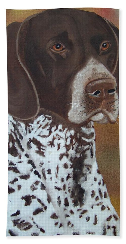 Dog Hand Towel featuring the painting German Shorthair Pointer by Debbie LaFrance