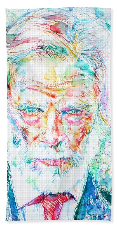 Gerry Mulligan Bath Sheet featuring the painting Gerry Mulligan - Portrait by Fabrizio Cassetta
