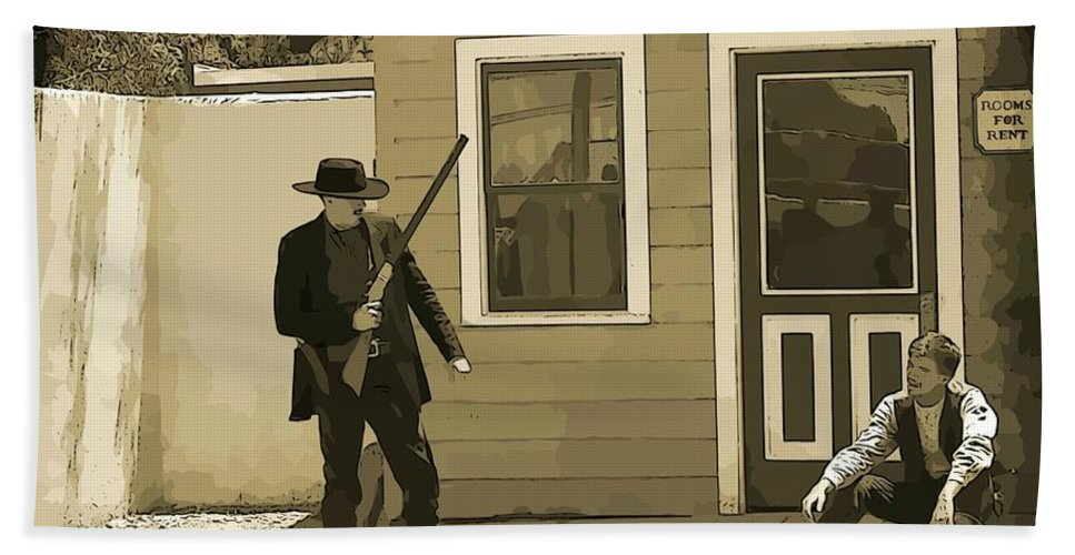 Gunslingers Bath Sheet featuring the photograph Get Up When Im Talkin Boy by John Malone