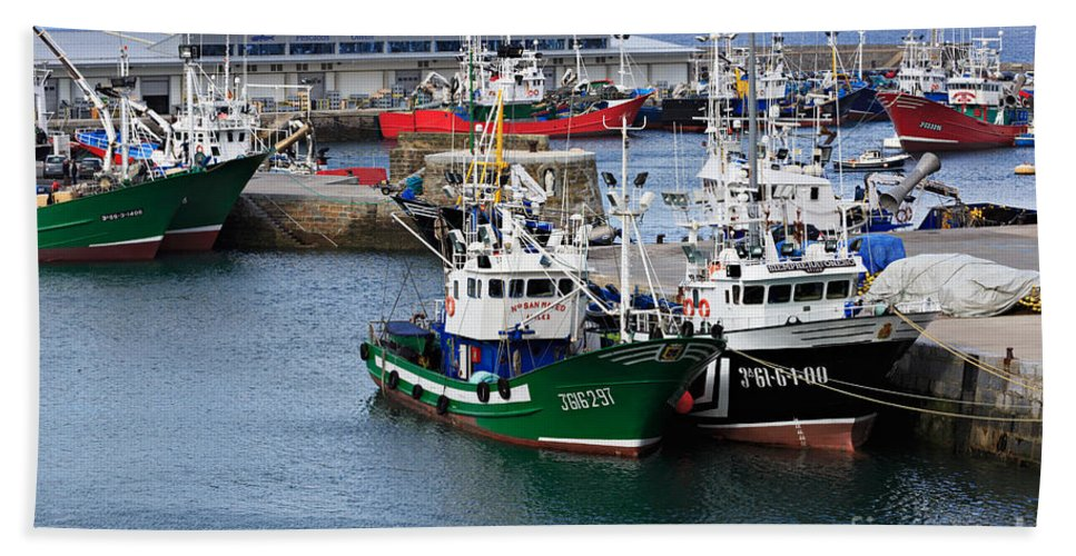 Getaria Bath Sheet featuring the photograph Getaria Fishing Fleet by Louise Heusinkveld