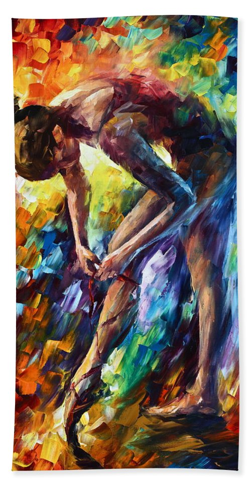 Ballerina Bath Towel featuring the painting Getting Ready by Leonid Afremov