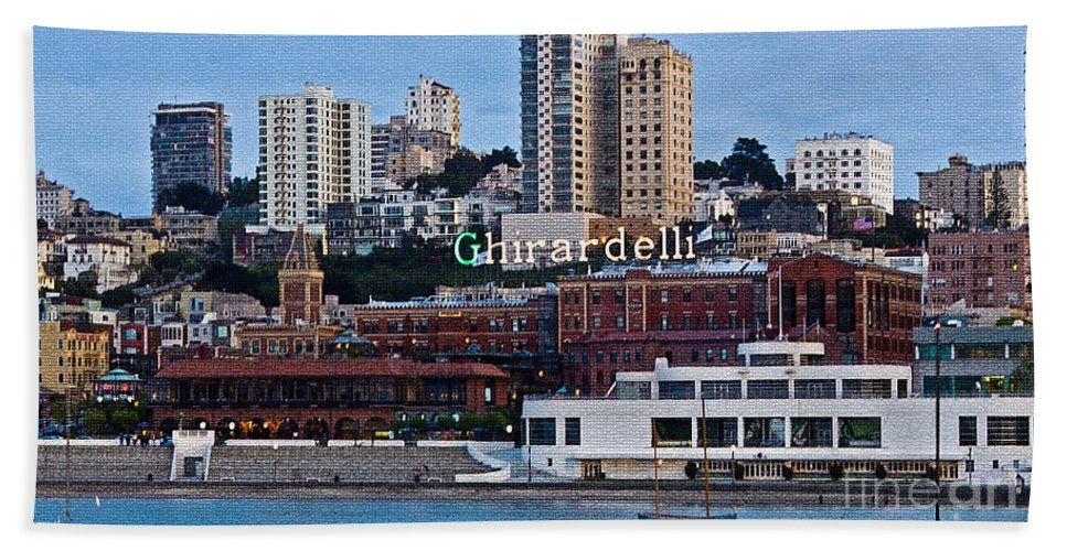 Kate Brown Bath Sheet featuring the photograph Ghirardelli Square by Kate Brown