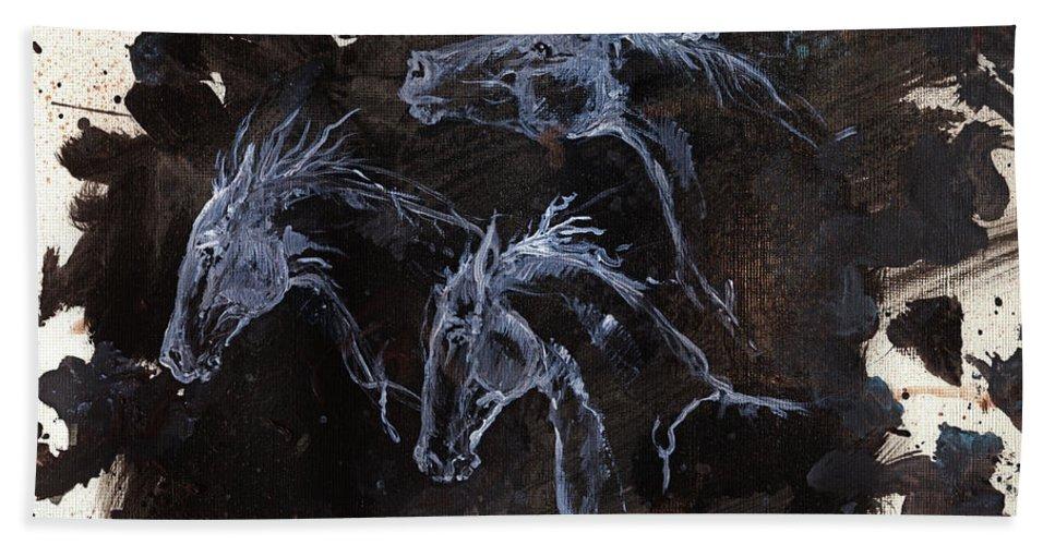 Ghost Bath Sheet featuring the painting Ghost Horses by Angel Ciesniarska