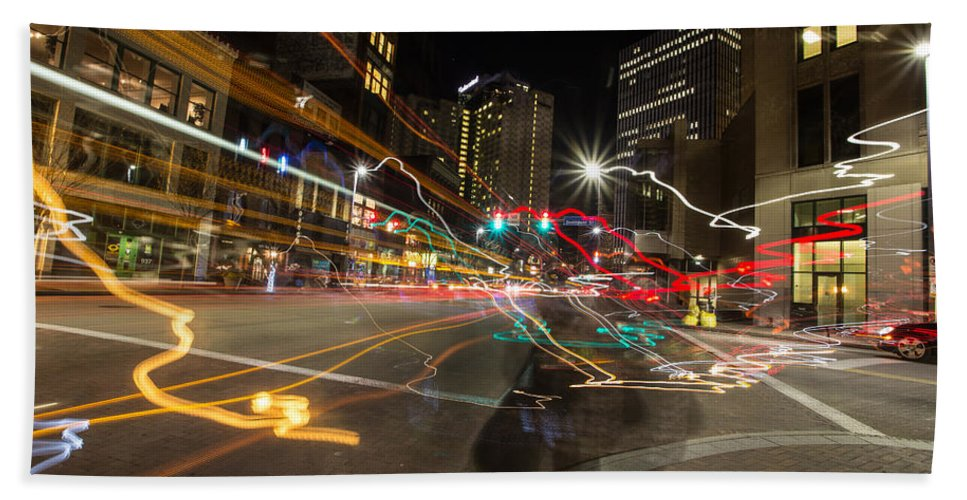 Pittsburgh Pa. Pennsylvania City Skyline Traffic Night View Taaffe Urban Urbanx Bath Sheet featuring the photograph Ghost Of A Chance by Jimmy Taaffe