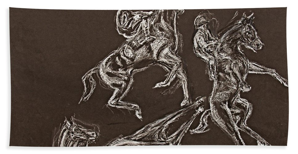 Rearing Horse Hand Towel featuring the drawing Ghost Riders In The Sky by Tom Conway