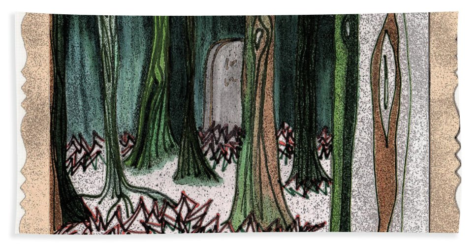 First Star Art Bath Sheet featuring the drawing Ghost Stories Forest Graveyard By Jrr by First Star Art