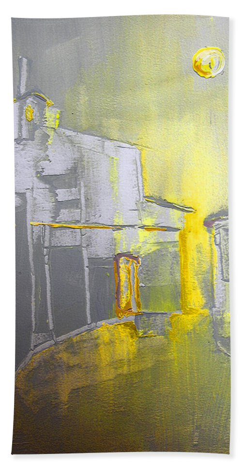 Ghost Town Hand Towel featuring the painting Ghost Town In Spain by Miki De Goodaboom