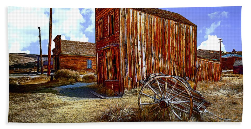 Chuck Hand Towel featuring the digital art Ghost Towns In The Southwest by Bob and Nadine Johnston