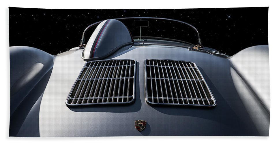 Porsche Bath Towel featuring the digital art Porsche 550 Spyder by Douglas Pittman