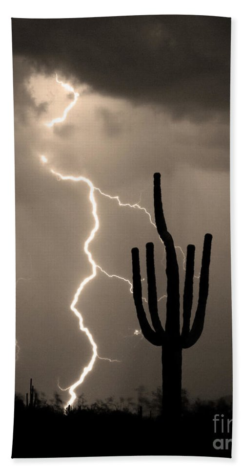 Weather Hand Towel featuring the photograph Giant Saguaro Cactus Lightning Strike Sepia by James BO Insogna