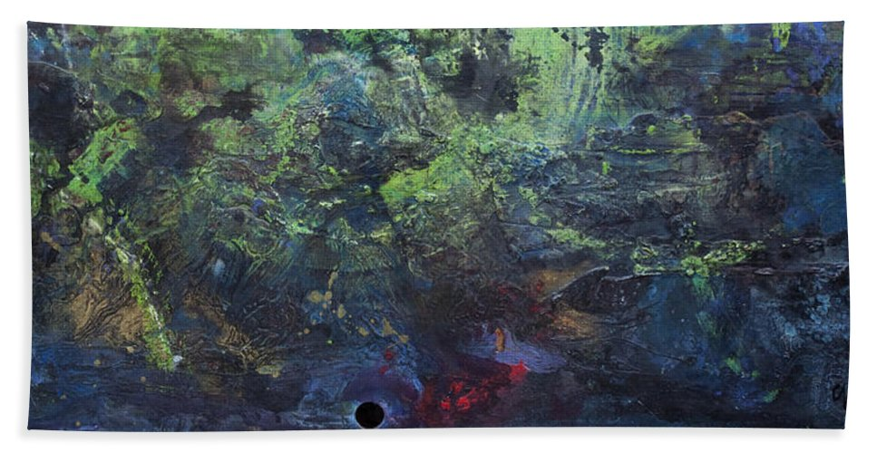 Abstract Bath Sheet featuring the painting Giant Supernova by Laurie Maves ART
