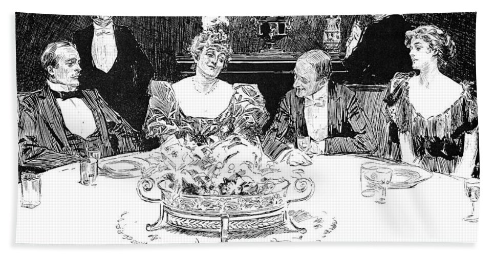 1896 Hand Towel featuring the photograph Gibson: Dinner Party by Granger