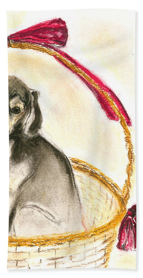 Dog Hand Towel featuring the drawing Gift Basket by Cori Solomon