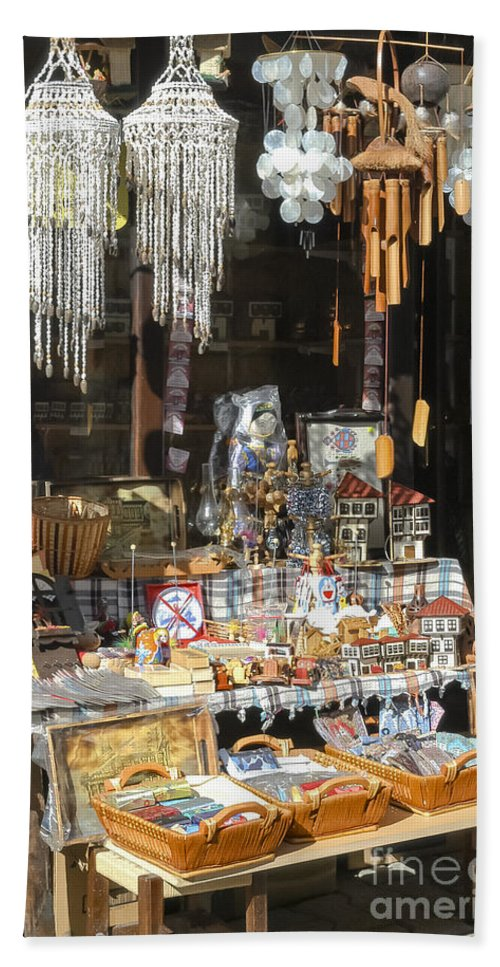 Safranbolu Turkey Street Market Markets Gifts Wind Chimes Chime Odds And Ends Souvenir Souvenirs Streets Cityscape Cityscapes City Cities Bath Sheet featuring the photograph Gifts And Things by Bob Phillips