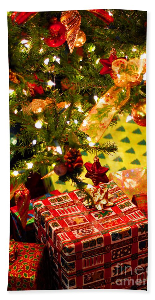 Christmas Bath Towel featuring the photograph Gifts Under Christmas Tree by Elena Elisseeva