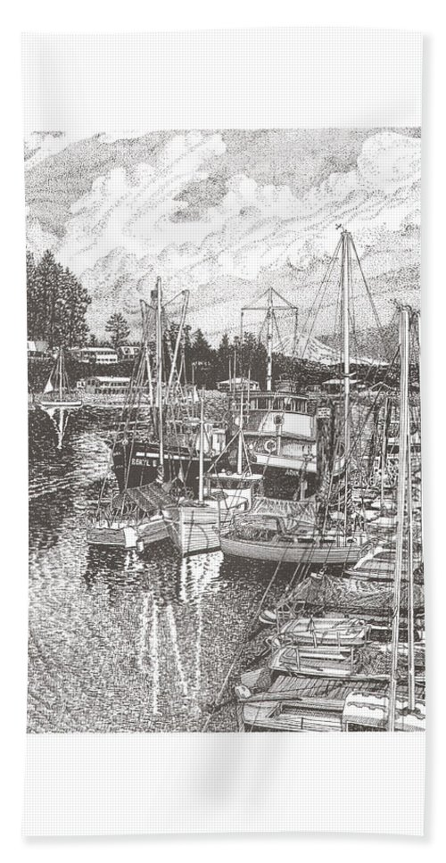 Yacht Portraits Hand Towel featuring the drawing Gig Harbor Entrance by Jack Pumphrey