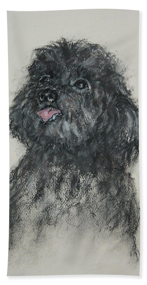 Poodle Hand Towel featuring the drawing Gigi by Cori Solomon