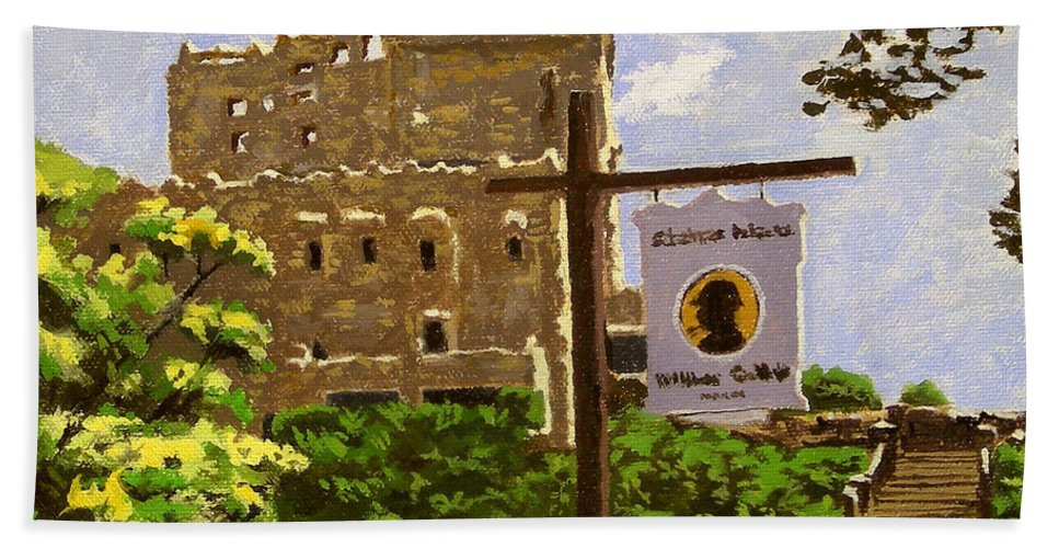 Christine Hopkins Hand Towel featuring the painting Gillette Castle East Haddam Connecticut by Christine Hopkins