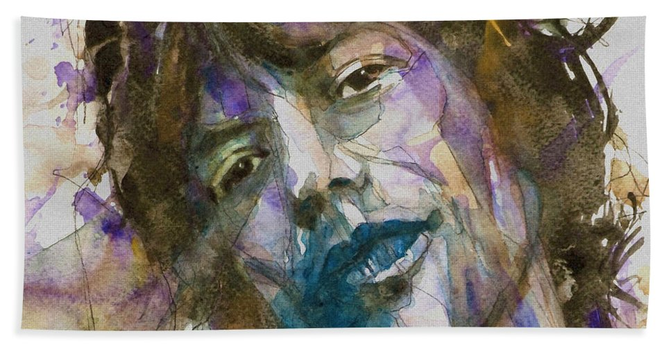 Rolling Stones Bath Towel featuring the painting Gimme Shelter by Paul Lovering