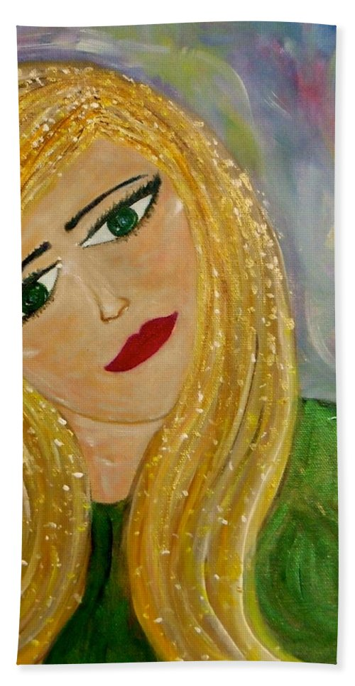 Whimsical Female Figure Bath Sheet featuring the painting Gina Nevaeh by Sara Credito