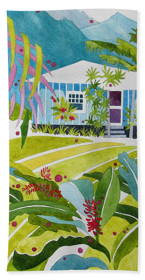 Nature Hand Towel featuring the painting Ginger Cottage by Sherri Bails