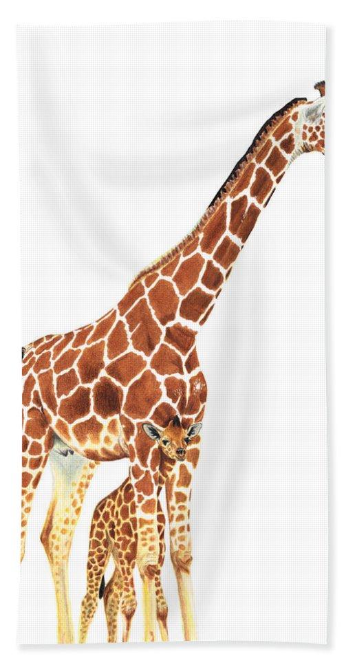 Giraffe Bath Sheet featuring the painting Giraffe Art - A Mother's Love - By Sharon Cummings by Sharon Cummings