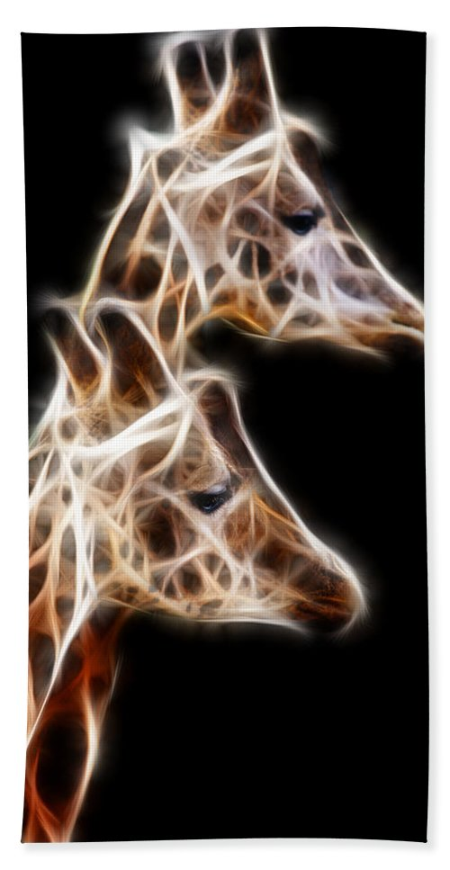 Fractal Bath Sheet featuring the photograph Giraffe Duo Fractal by Pati Photography