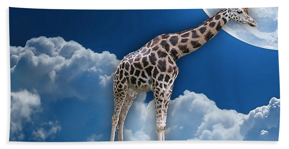 Giraffe Bath Sheet featuring the mixed media Giraffe Flying High by Marvin Blaine