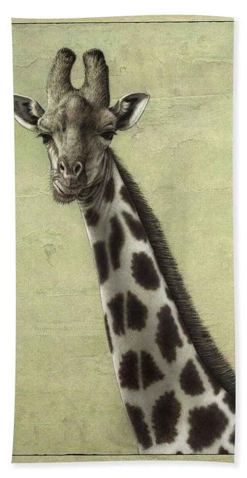 Giraffe Hand Towel featuring the painting Giraffe by James W Johnson