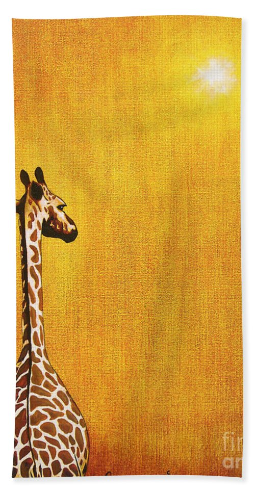 Giraffe Hand Towel featuring the painting Giraffe Looking Back by Jerome Stumphauzer