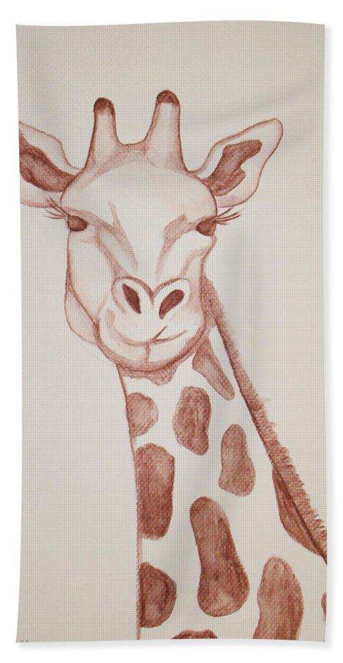 Rick Huotari Hand Towel featuring the painting Giraffe by Rick Huotari