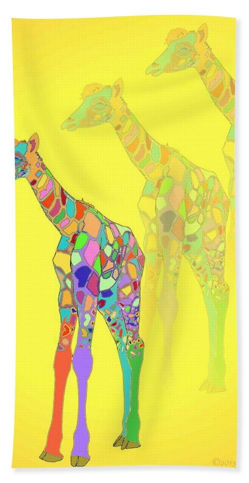 Giraffe Bath Sheet featuring the photograph Giraffe X 3 - Yellow by Joyce Dickens