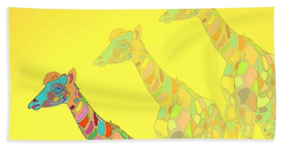 Giraffe Bath Sheet featuring the photograph Giraffe X 3 - Yellow - The Card by Joyce Dickens