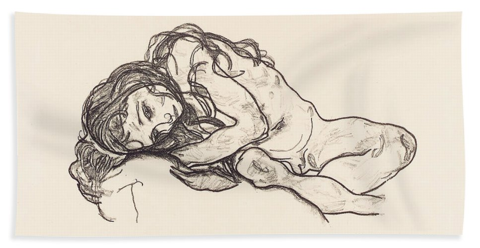 Egon Schiele Bath Sheet featuring the drawing Girl by Egon Schiele