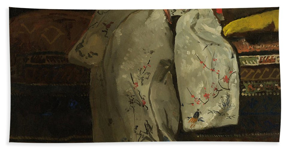 Kimono Hand Towel featuring the painting Girl In A Kimono by Mountain Dreams
