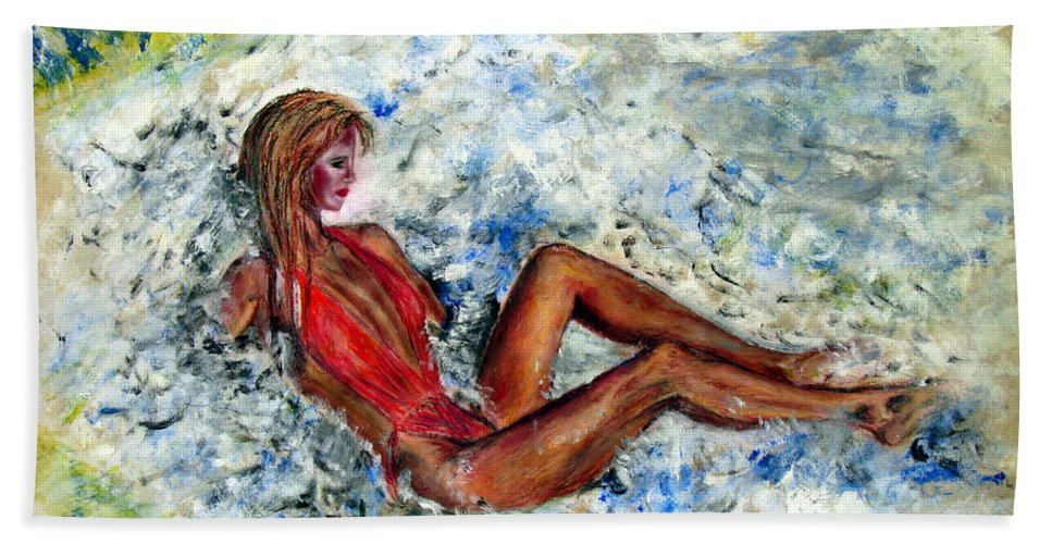 Girl Bath Sheet featuring the painting Girl In A Red Swimsuit by Tom Conway