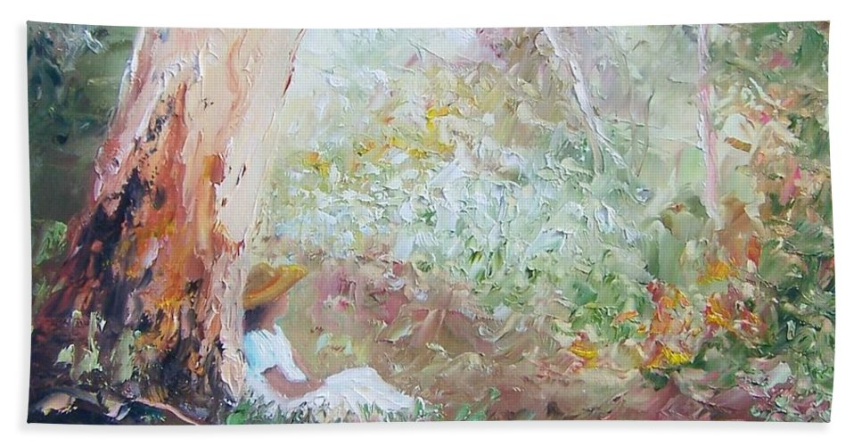 Landscape Hand Towel featuring the painting Girl In A White Dress by Jan Matson