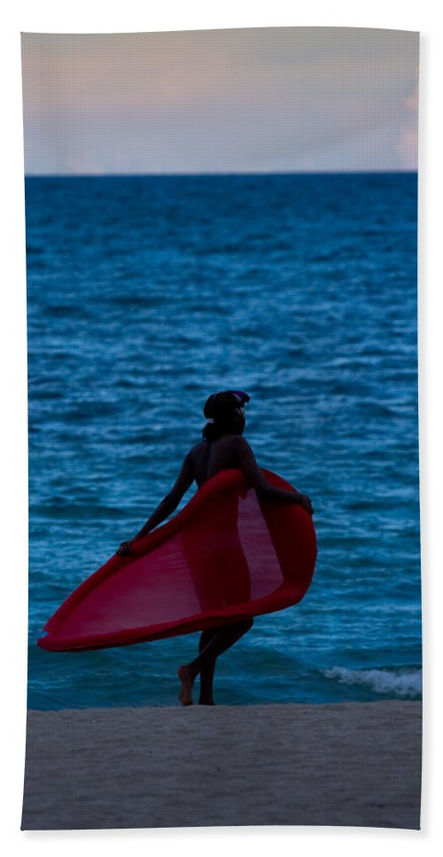 A1a Bath Sheet featuring the photograph Girl In Red Float by Ed Gleichman