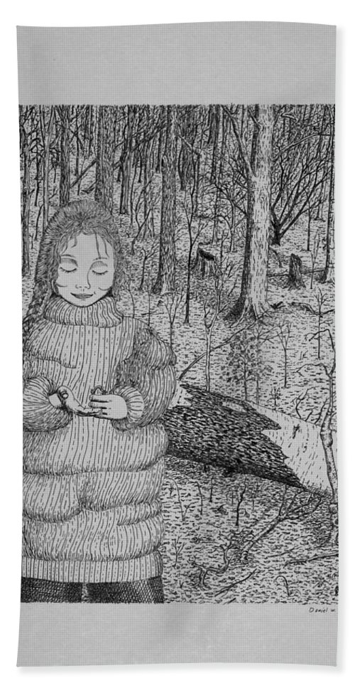 Girl Bath Sheet featuring the drawing Girl In The Forest by Daniel Reed