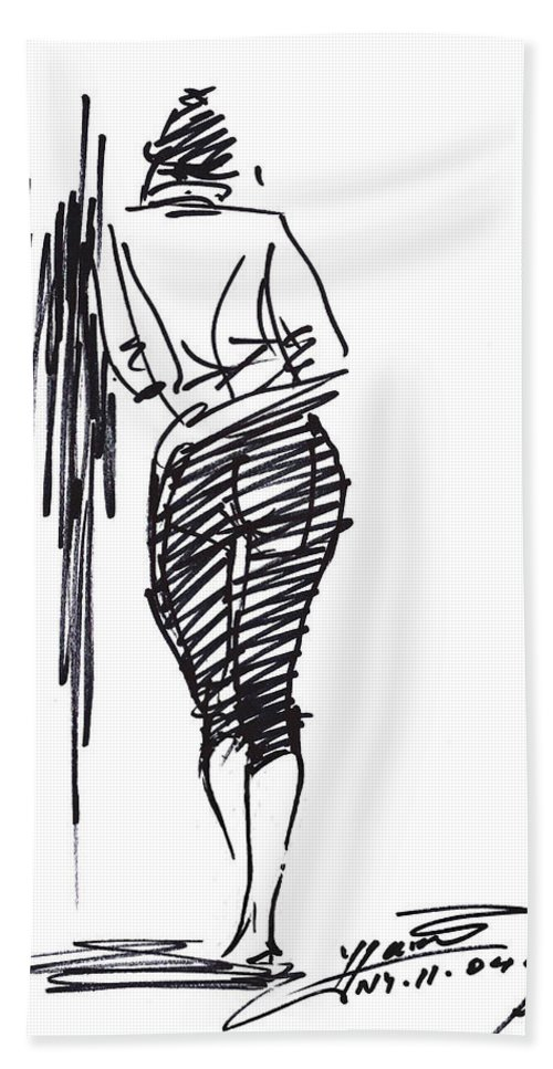 Girl Hand Towel featuring the drawing Girl Leaning Against Wall by Ylli Haruni