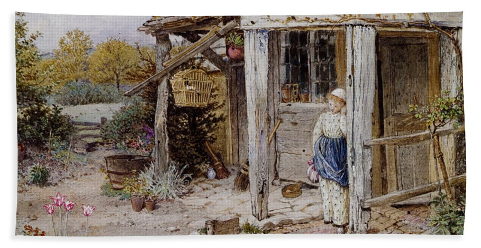 Forest Myles Birket Hand Towel featuring the digital art Girl Outside A Cottage by Forest Myles Birket