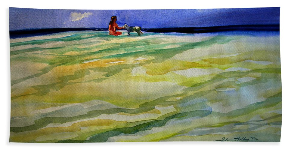 Impressionism Bath Sheet featuring the painting Girl With Dog On The Beach by Julianne Felton