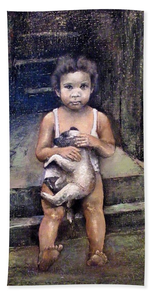 Perro Bath Towel featuring the painting Girl with dog by Tomas Castano
