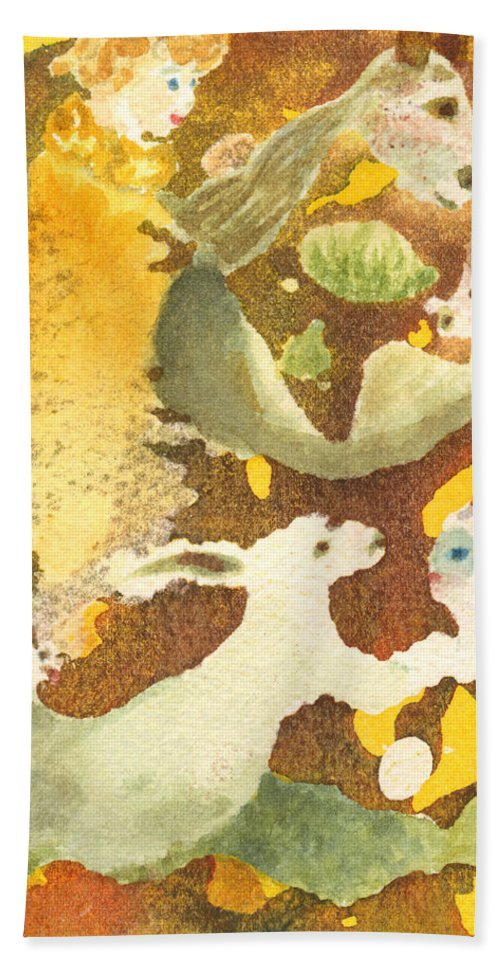 Rabbit Bath Sheet featuring the painting Girl With Rabbits by Phyllis Brady