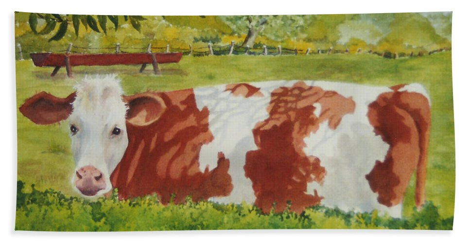 Cows Bath Sheet featuring the painting Give Me Moooore Shade by Mary Ellen Mueller Legault